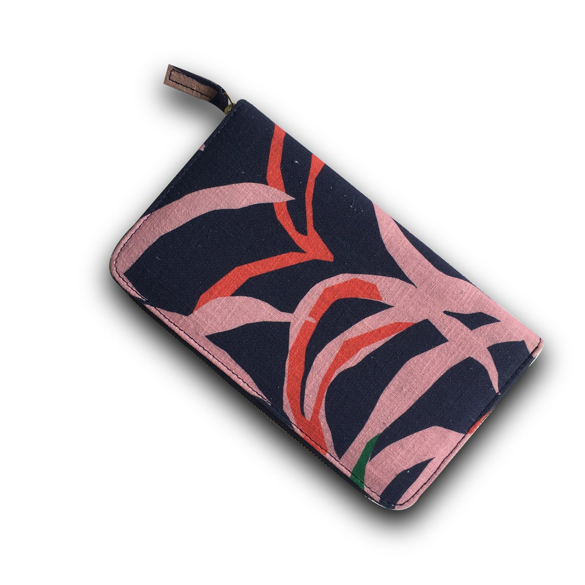 TRAVELLING TREV CLUTCH - PENIDA PALM PRINT (BLUE)