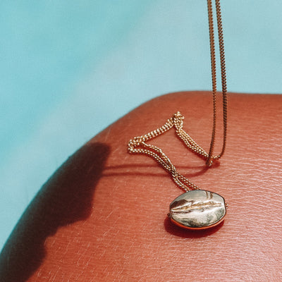 Gold Coffee Bean Necklace by La Luna Rose
