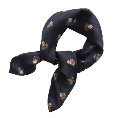 Mini Magdalena Printed Scarf inspired by Frida Kahlo Luna and Rose design Navy Blue