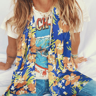 Goldfish Kiss x Luna & Rose Bucket Scarf Blue Crush print