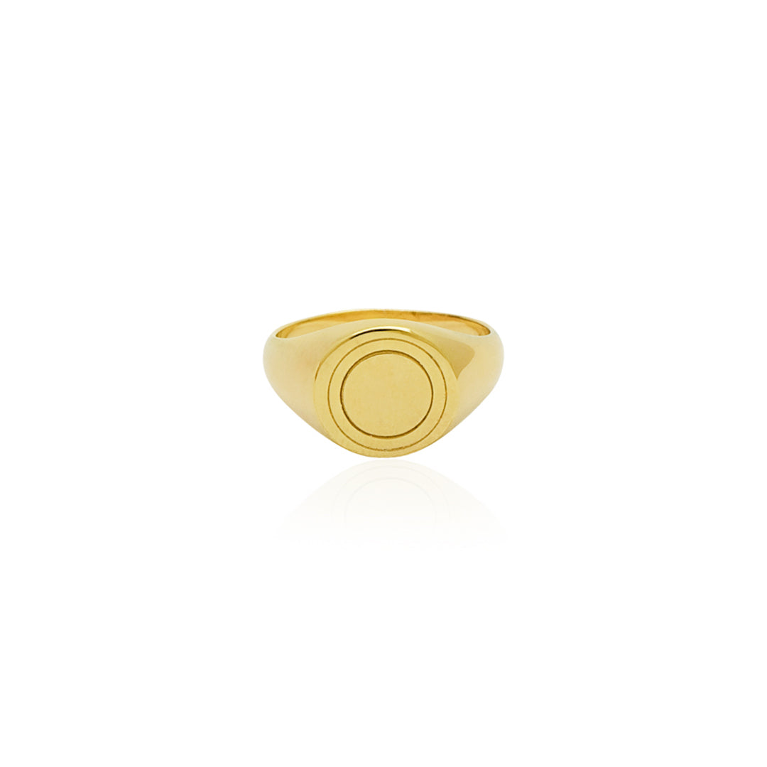 Halo Signet Ring - Gold