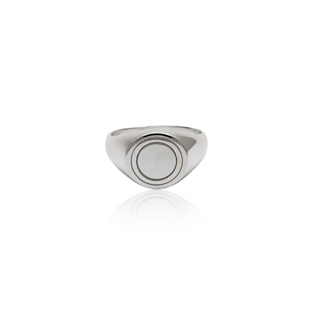 Recycled Sterling Silver Halo Signet Ring - Silver