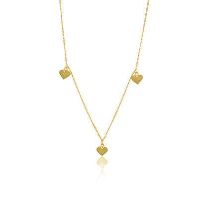 Gold Trio of Solid Gold Hearts Charm necklace from Luna and Rose