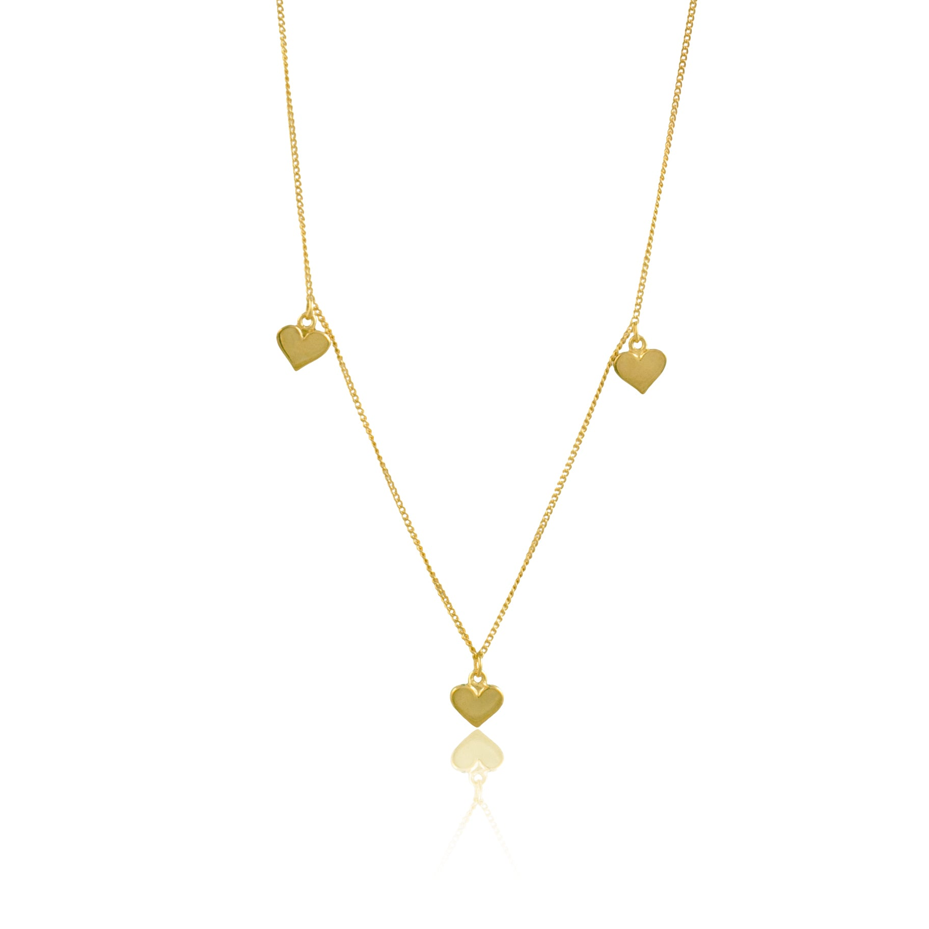 SOLID GOLD - Triple Heart Necklace