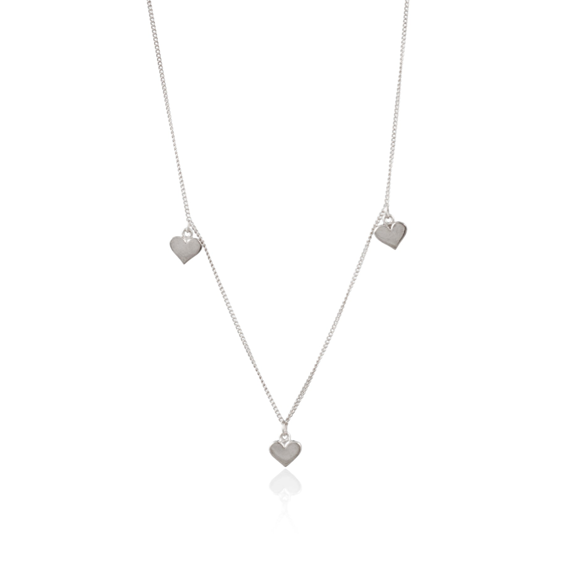 Trio of Hearts Necklace Heart of Gold in Solid Silver