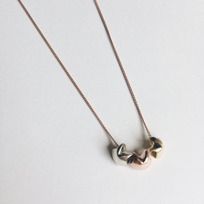 Awestruck in Luck Fortune Cookie Triple Charm Necklace - Gold, Rose Gold and Silver