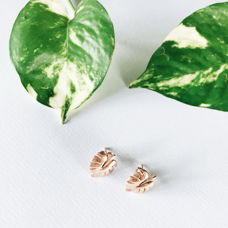 La Luna Rose Jewelry - Rose Gold Never Leaf Me Earrings