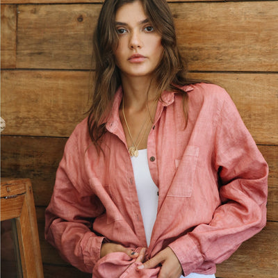 La Luna Rose Organic Dyed Shirt in Deep Beet Colour
