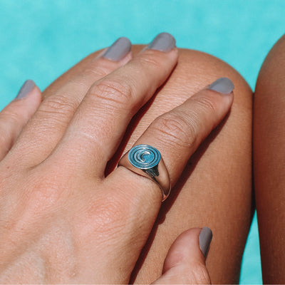 La Luna Moon Signet Ring in Solid Sterling Silver made by artisans in Bali