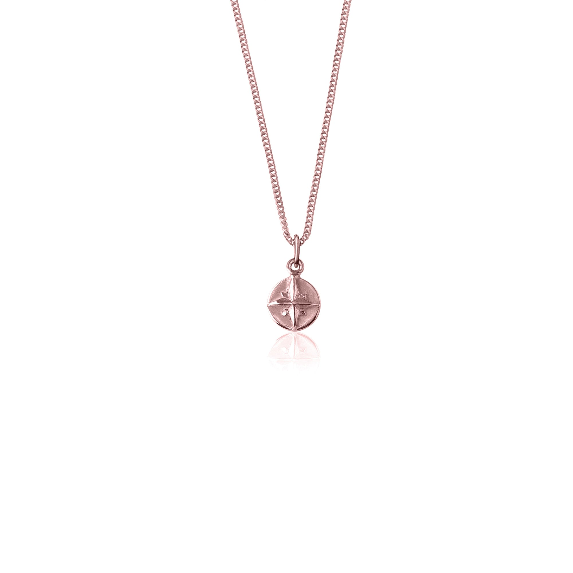 La Luna Rose Born To Roam Compass Charm - Rose Gold