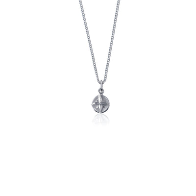 Sterling Silver - Born to Roam Compass Charm Necklace