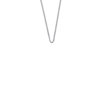 La Luna Rose Plain Silver Chain Necklace