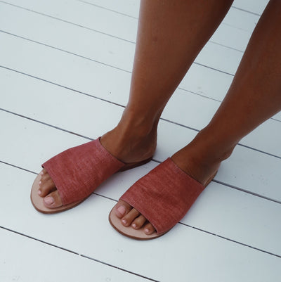Susan Sandal in Deep Beet Red Organic Dyed Colour