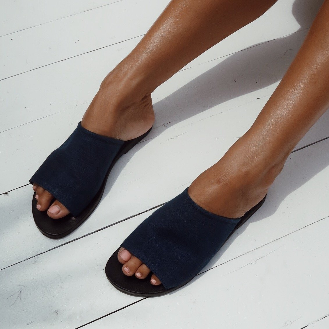 Susan Sandals in Organic Dyed Indigo Blue Colour by La Luna Rose