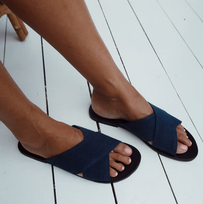 La Luna Rose Charlie Sandals in Organic Dyed Indigo Blue