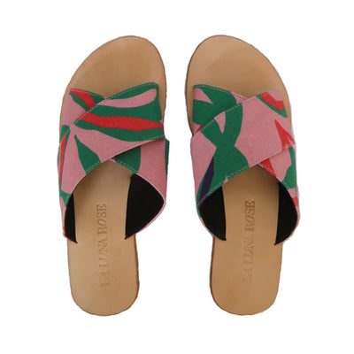 Charlie Sandals in Penida Palm Print - Pink