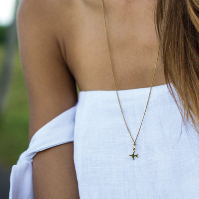 Just Plane Adventurous Charm Necklace - Gold