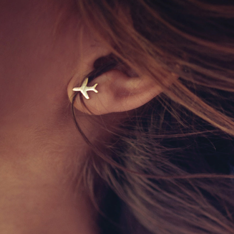 Just Plane Adventurous Earrings (Gold)