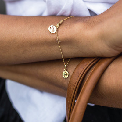 Compass Charm Bracelet - Bon Voyage Collection - Gold