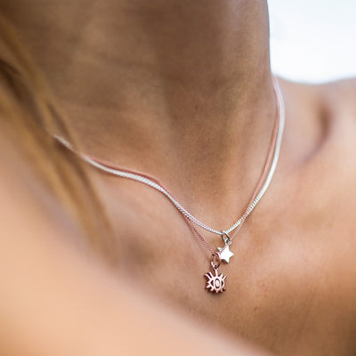 La Luna Rose Eye Charm Necklace