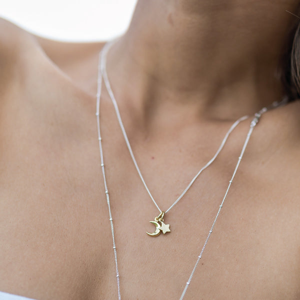 La Luna Rose Jewellery - To The Moon and Back Charm Necklace in Gold