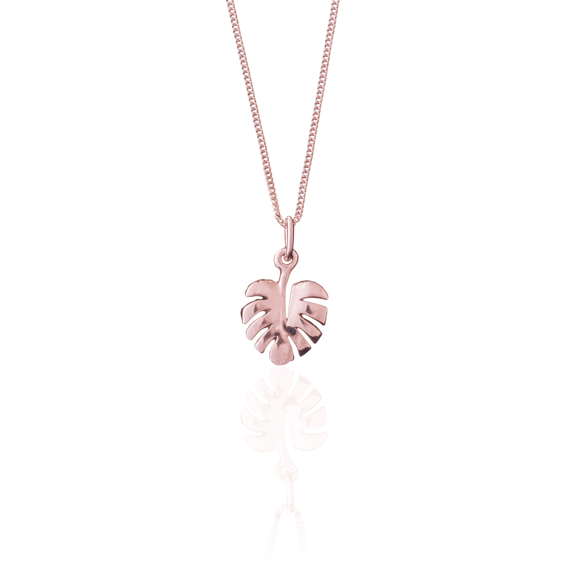 Luna & Rose - Never Leaf Me Charm Necklace -  Rose Gold
