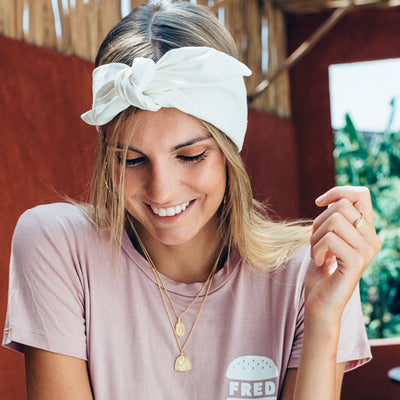 La Luna Rose Linen Head Wrap in Creme Colour