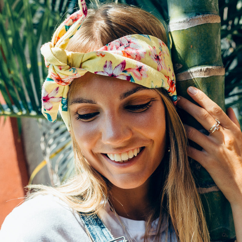 La Luna Rose Linen Head Wrap in Lemon Colour