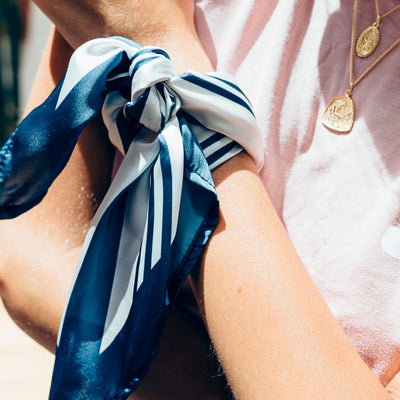 The Riviera Navy Blue Striped Neck Scarf by La Luna Rose SANTA CHIARA Collection