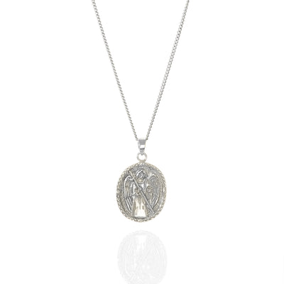 St Raphael - Patron Saint of Happy Meetings, Doctors & Nurses - Recycled Sterling Silver Pendant Necklace