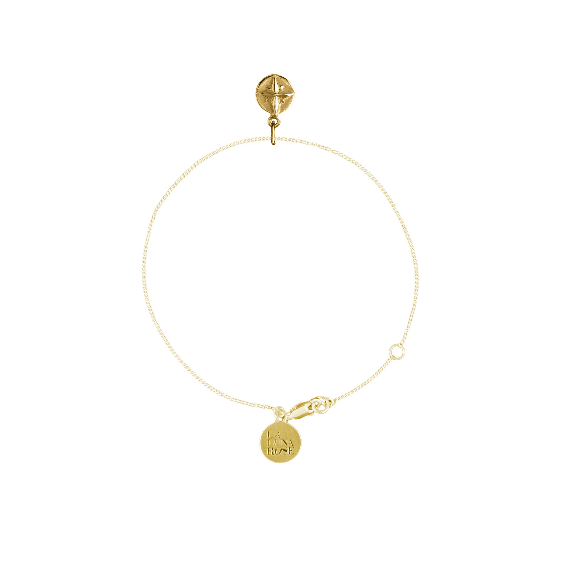 Born to Roam Compass Charm Bracelet - gold