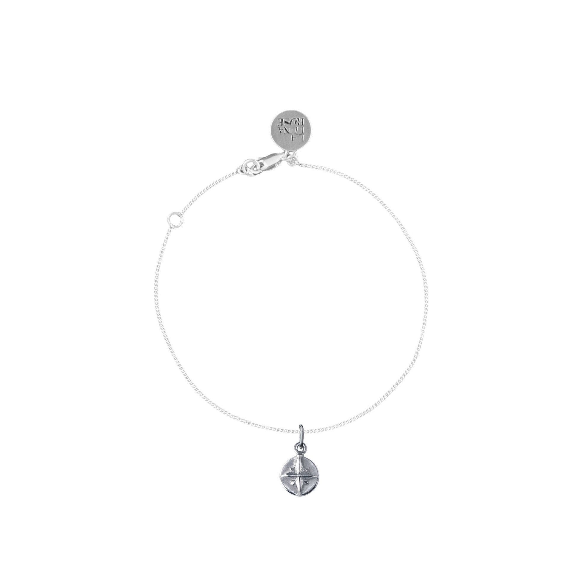 Born to Roam Compass Chain Bracelet - Silver