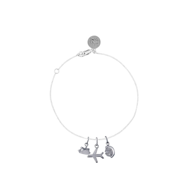 Just Plane Adventurous Charm Stacked Bracelet - Fine Chain