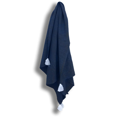Tilly Towel Navy Blue Indigo Organic Dyed