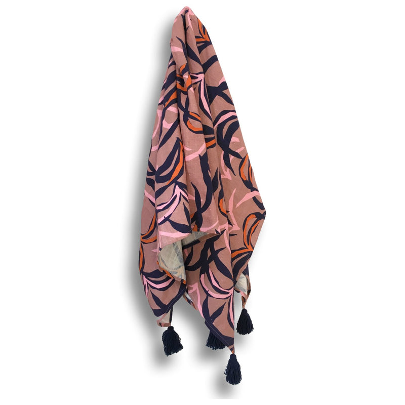 TILLY TOWEL - PENIDA PALM PRINT (BLUSH)