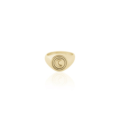 La Luna Rose Luna Signet Ring in 18kt Gold