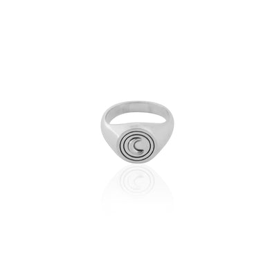 La Luna Rose Luna Signet Ring in .925 Recycled Sterling Silver
