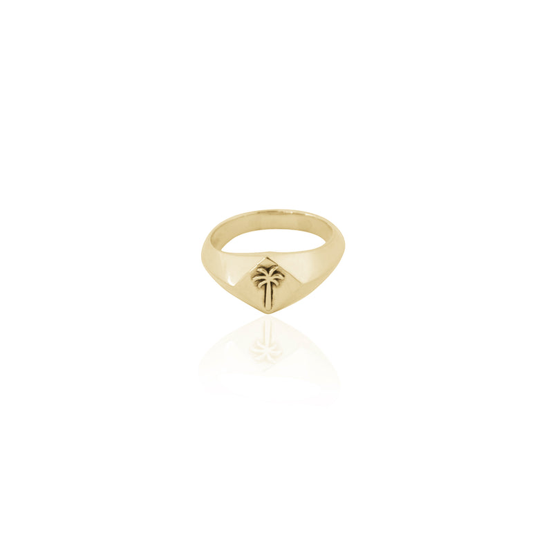 Coconut and Bliss x La Luna Rose Pacific Palm Signet Ring - GOLD