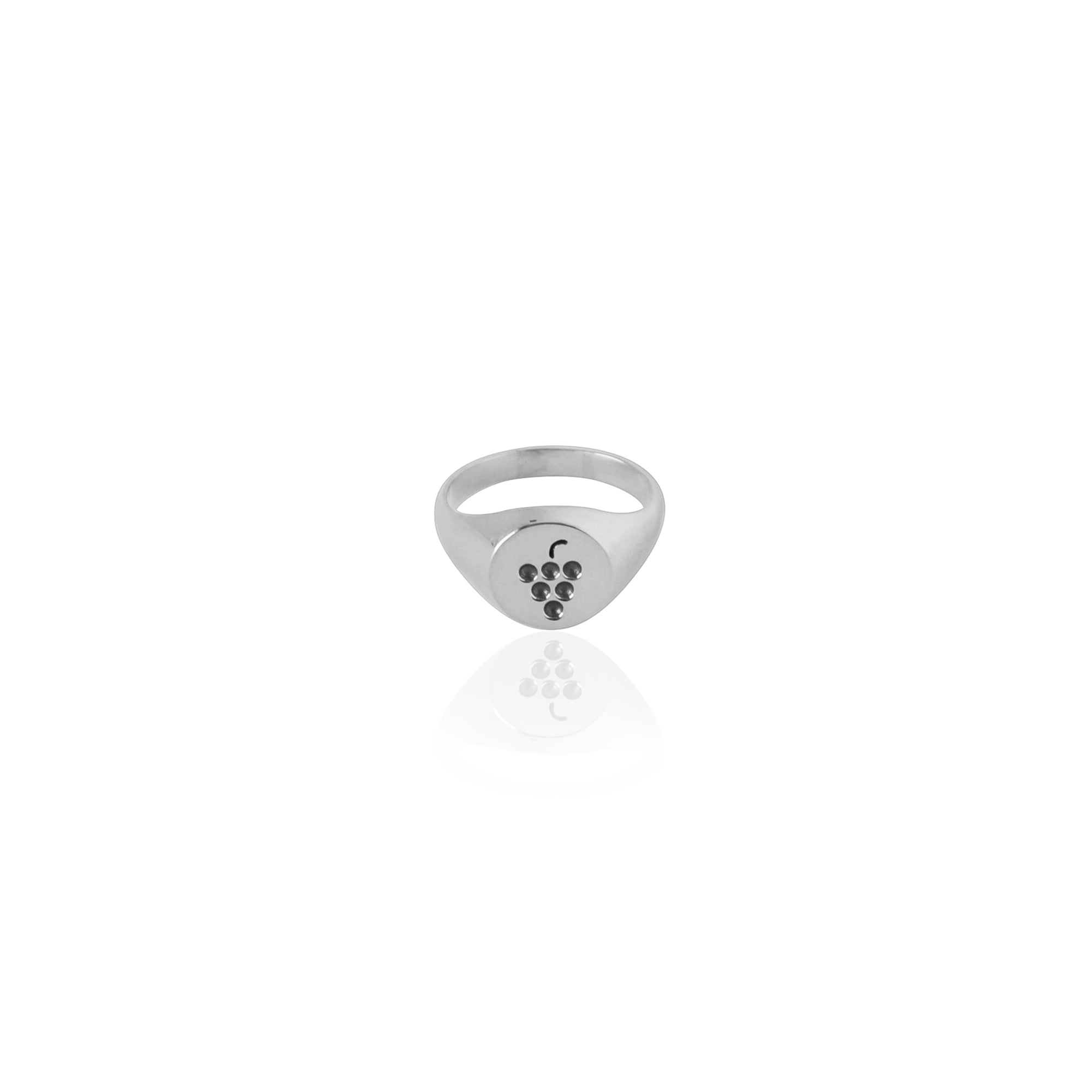 Coconut and Bliss x La Luna Rose Berry Crumble Signet Ring - SILVER