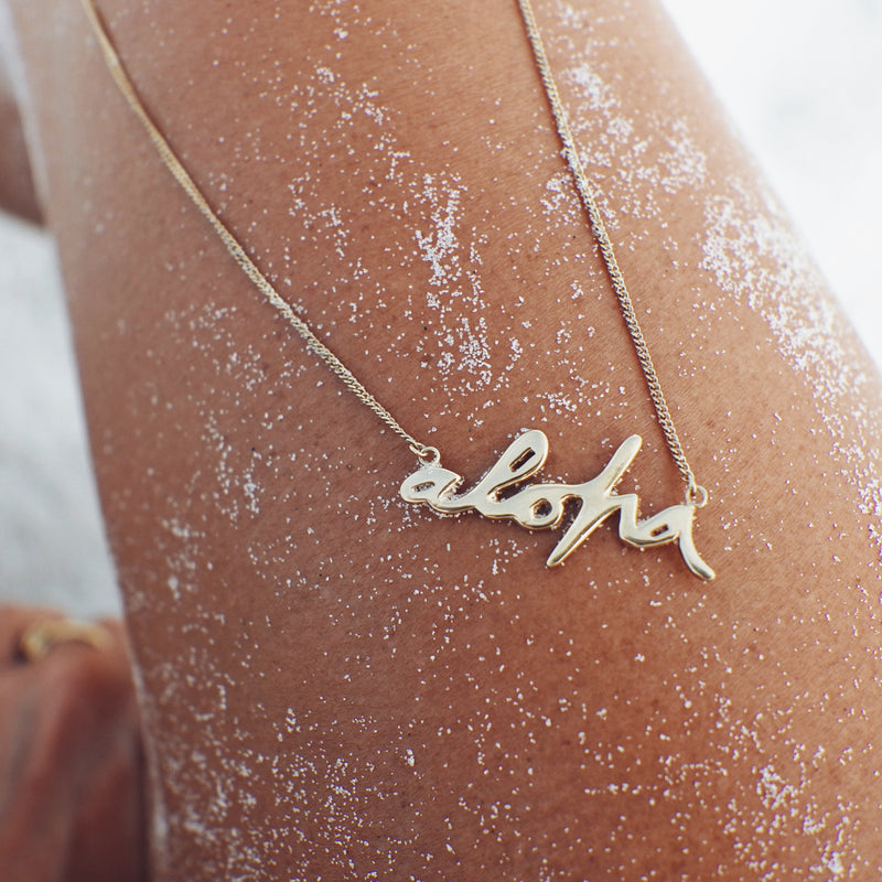 La Luna Rose x Goldfish Kiss Blogger Collaboration - Aloha Necklace in Silver
