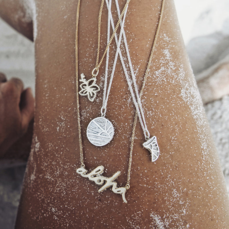 La Luna Rose x Goldfish Kiss Surf Fin Pendant Charm - Recycled Sterling Silver