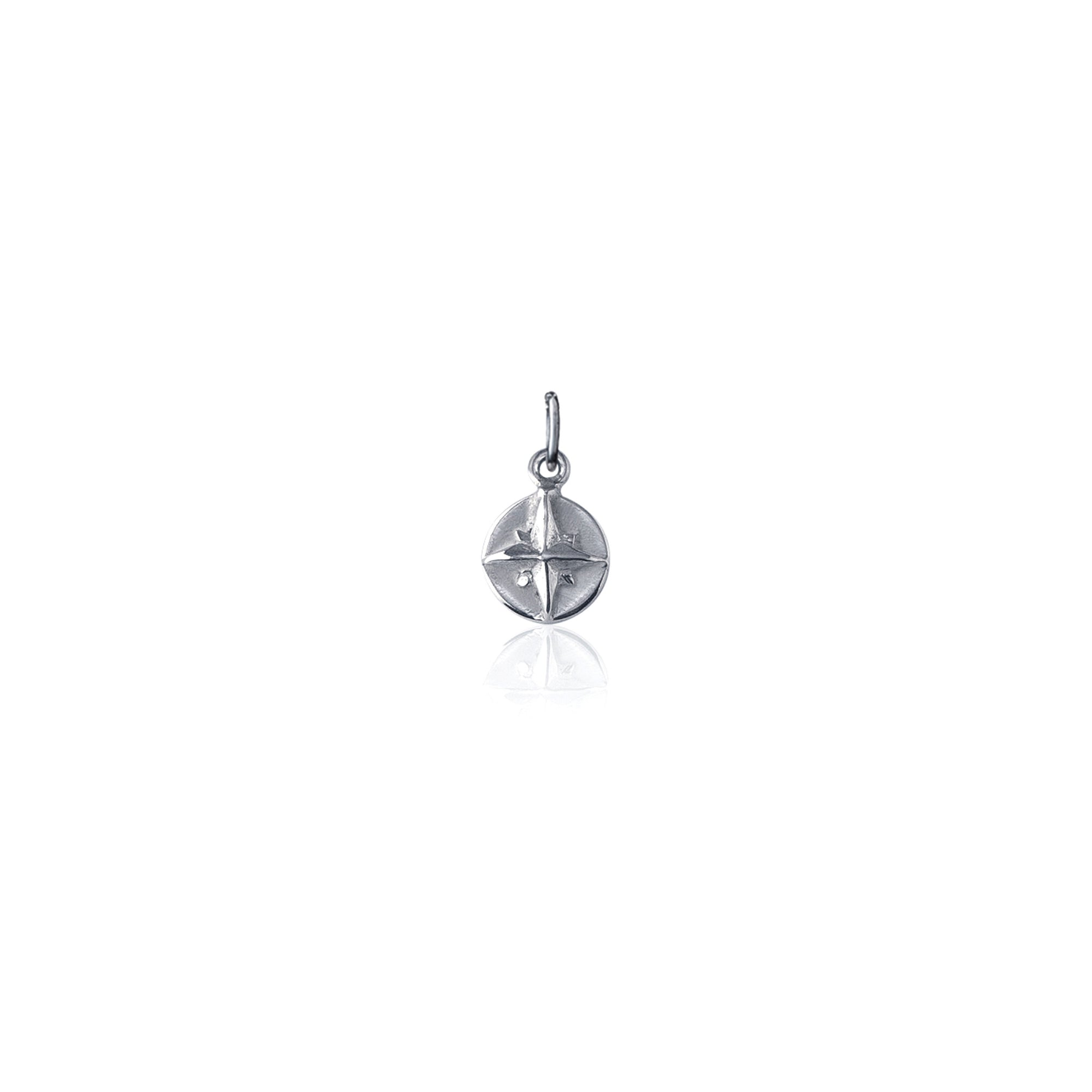 Born to Roam Compass Charm - Silver
