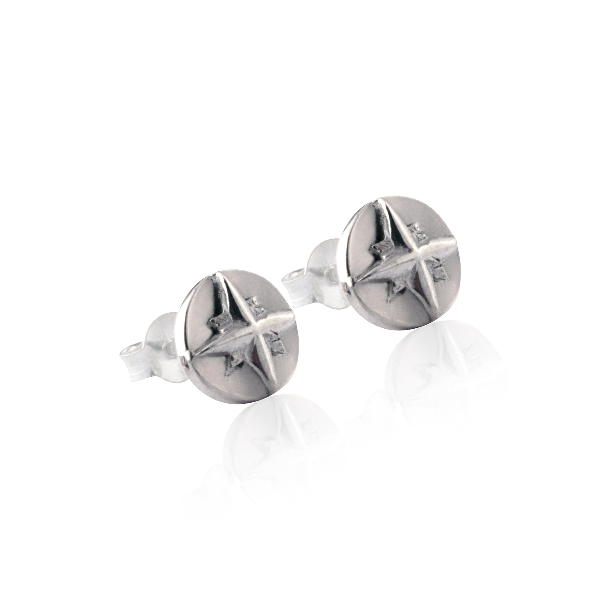 La Luna Rose Compass Earrings - Silver