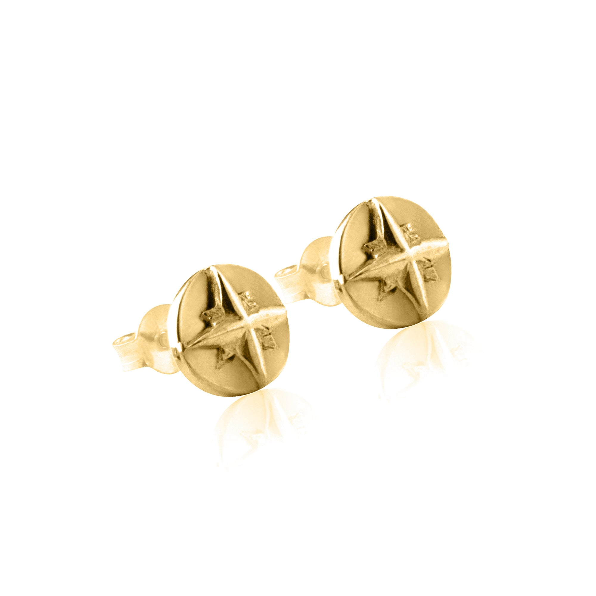 La Luna Rose Compass Earrings - Gold