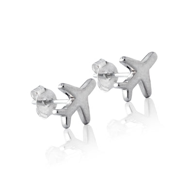 La Luna Rose - Just Plane Adventurous Stud Earrings - Silver