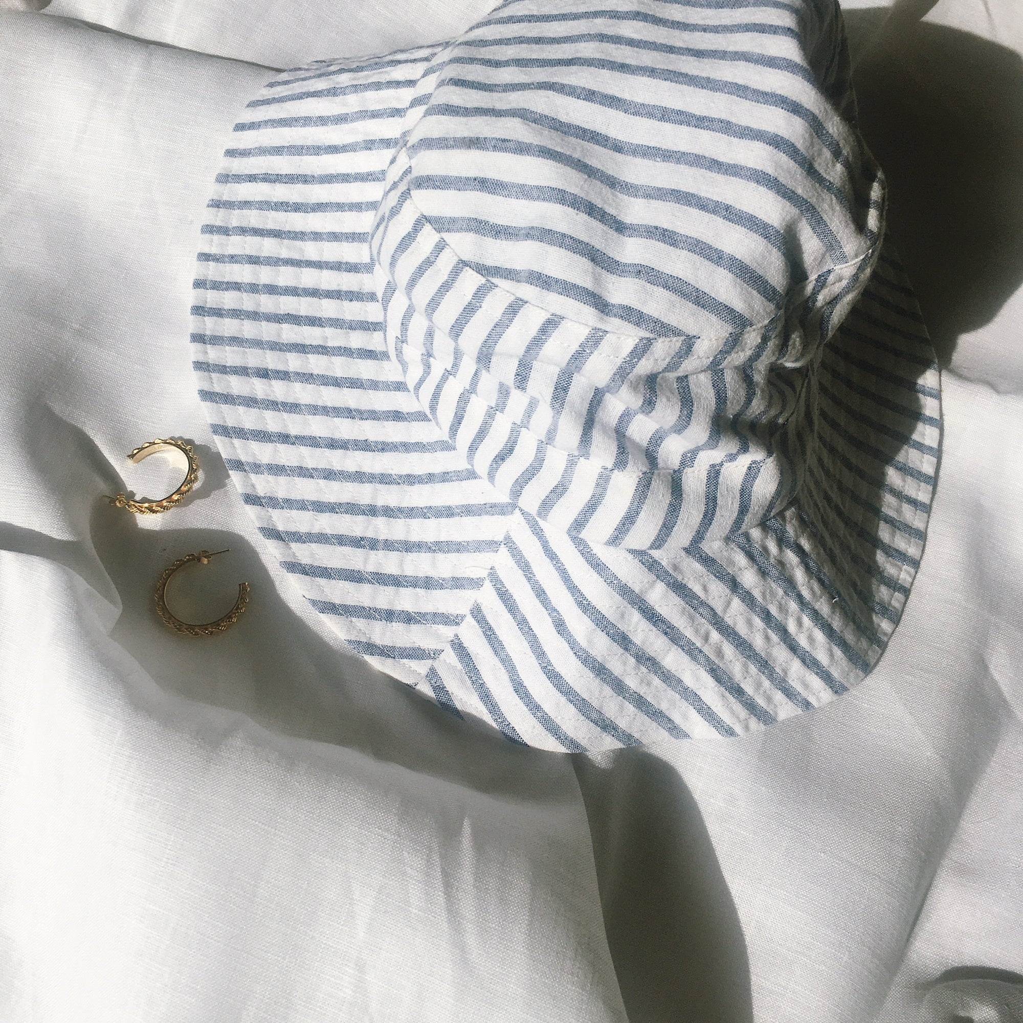 Luna & Rose Bronte Bucket Hat - Blue Stripe  Linen