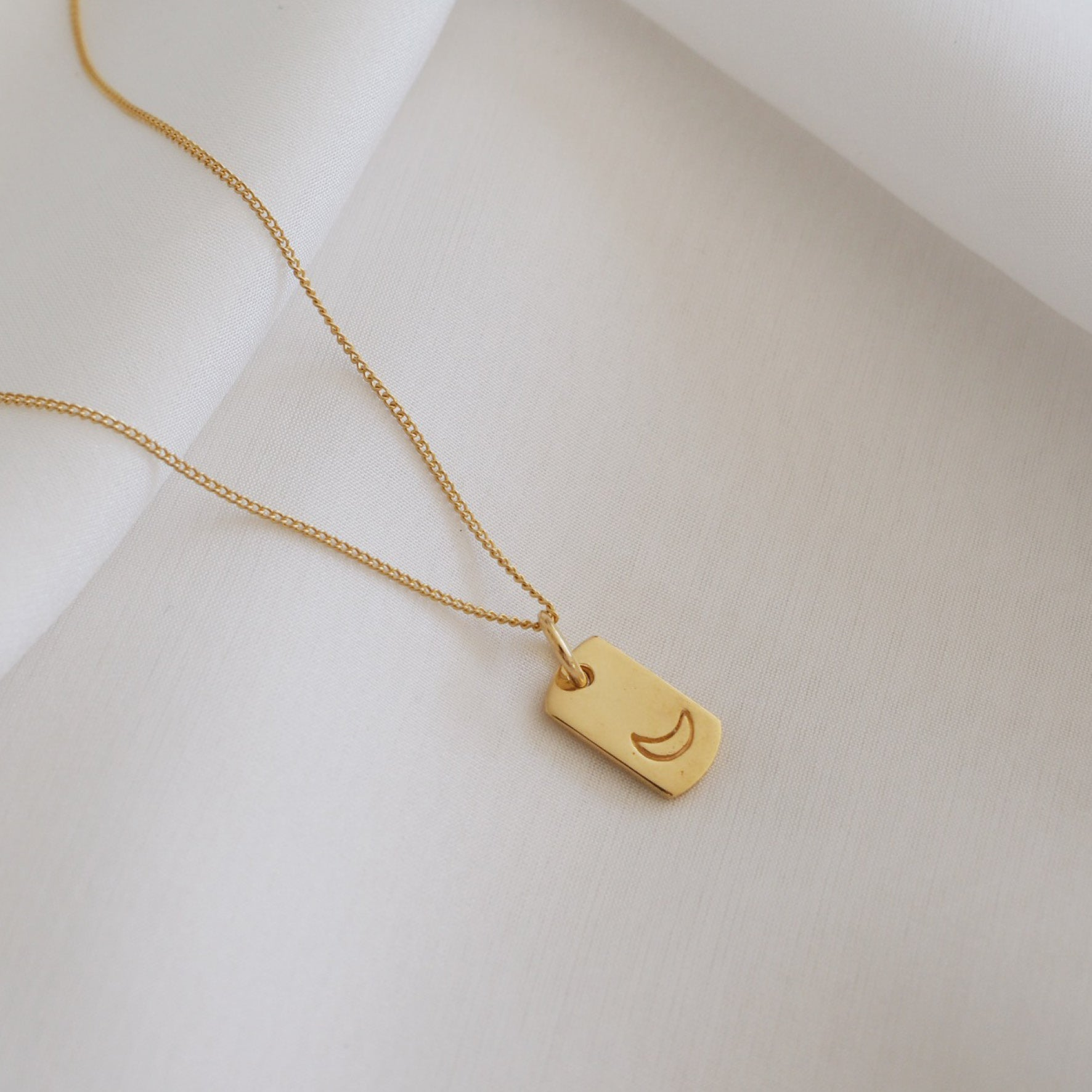 Mini Moon Rectangle Charm - Gold