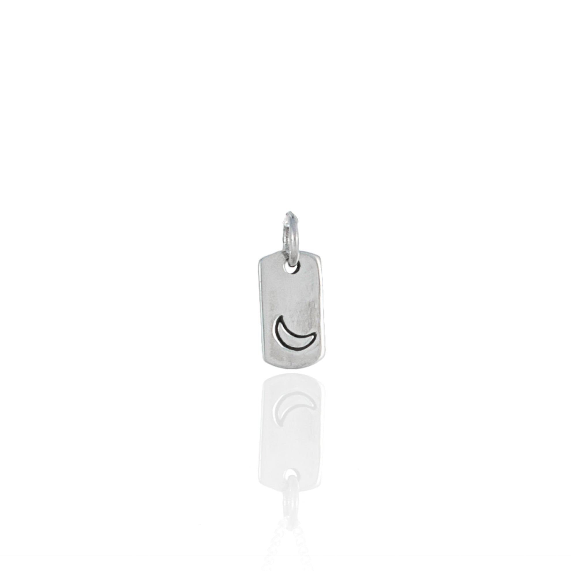 Mini Moon Rectangle Charm - Recycled Silver