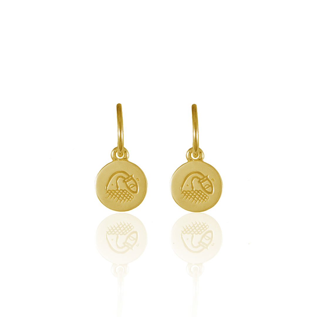 Aquarius Mini Zodiac Hoops - Gold