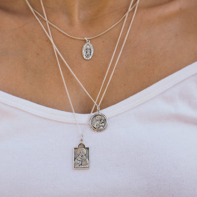 St christopher Necklace in Recycled Sterling Silver Patron Saint of Travel